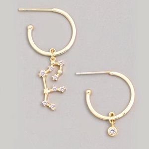 Jewelry - VIRGO Zodiac CZ Charm Asymmetrical Hoop Earrings